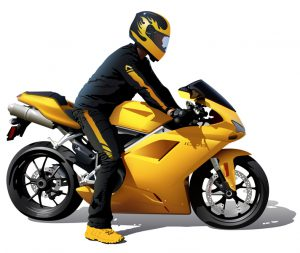 motocyklista na motocyklu